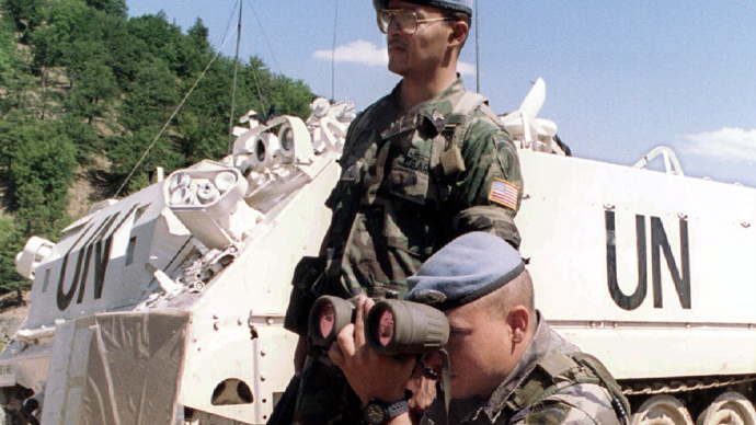 UN peacekeeping soldiers patrolling part of the border between Macedonia and Yugoslavia on August 20, 1993 (Reuters)
