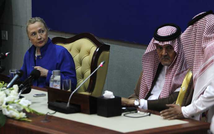 U.S. Secretary of State Hillary Clinton speaks during a joint news conference with Saudi Foreign Minister Prince Saud al-Faisal, March 31, 2012. (Reuters / Fahad Shadeed)