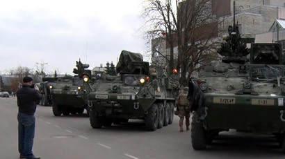 US military convoy parades through Eastern Europe (Screenshot from Ruptly video)