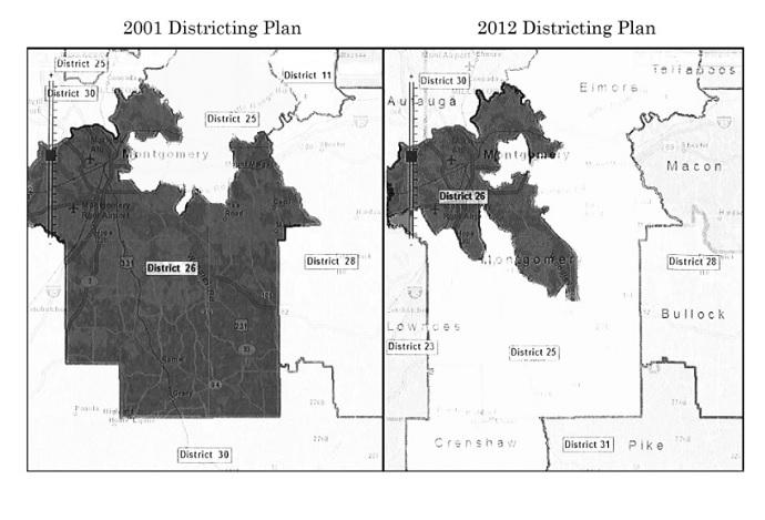 Map of Alabama Senate District 26 (Supreme Court: Alabama Legislative Black Caucus v. Alabama)