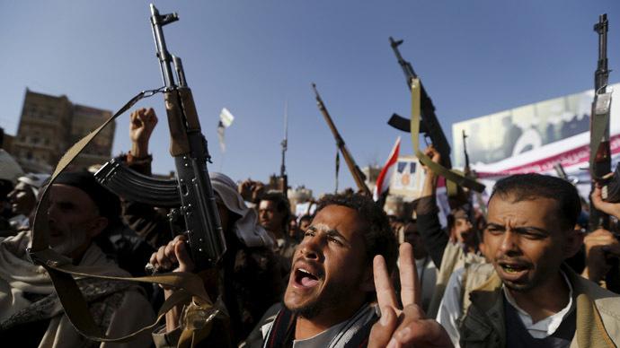 Gulf coalition airstrikes against Houthi rebels in Yemen