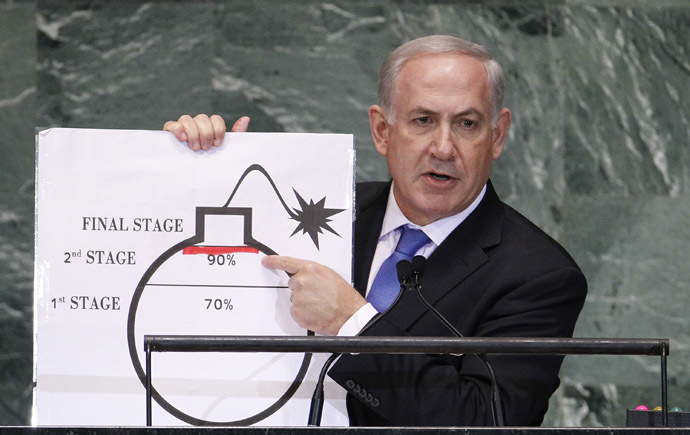 Israel's Prime Minister Benjamin Netanyahu points to a red line he has drawn on the graphic of a bomb as he addresses the 67th United Nations General Assembly at the U.N. Headquarters in New York, September 27, 2012. (Reuters/Lucas Jackson)