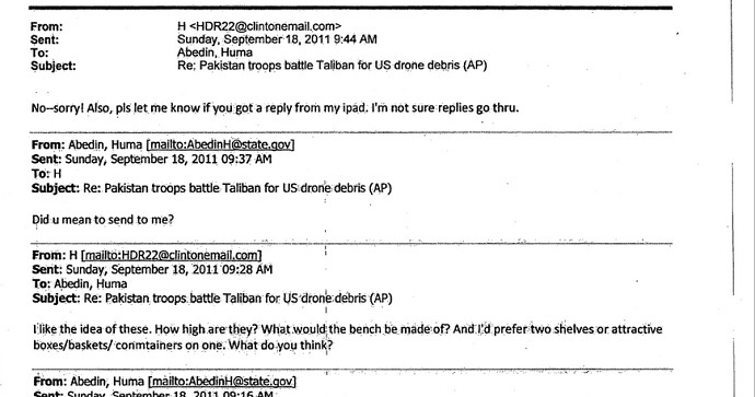 A FOIA request shows the September 2011 emails in which Clinton used her iPad to conduct State Department business from her personal email address (Contributed by: Jack Gillum, Associated Press)
