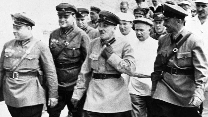 Filatov, Nikita Khrushchev and Genrikh Yagoda examine construction site of Moscow-Volga Canal. (RIA Novosti)