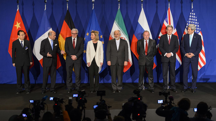 P5+1 and Iran representative pose prior to the announcement of an agreement on Iran nuclear talks on April 2, 2015 at the The Swiss Federal Institutes of Technology (EPFL) in Lausanne.(AFP Photo / Fabrice Coffrini )