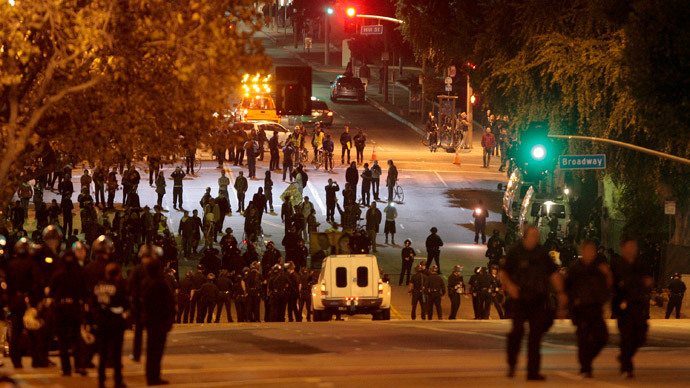 Police take over the streets as protesters from the Occupy LA encampment outside City Hall face eviction in Los Angeles November 30, 2011.(Reuters / Jason Redmond )