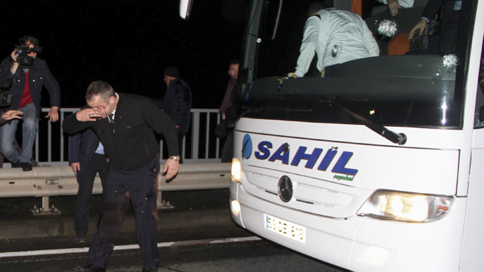 Bullets plough through bus carrying Turkish football team, wounding driver (VIDEO)