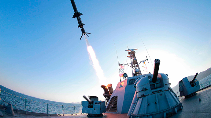 A missile is fired from a naval vessel during the test-firing of a new type of anti-ship cruise missile to be equipped at Korean People's Army (KPA) naval units (Reuters / KCNA)