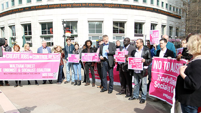 'TUSC is 100% anti-austerity': Socialists launch election manifesto in heart of UK capitalism