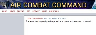 Maj. Gen. James Post III's biography has already been removed from the Air Combat Command page (screenshot from acc.af.mil)