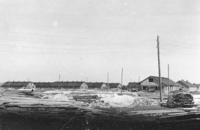 Nazi propaganda photograph of Salaspils concentration camp in 1941. (Image from Wikipedia)