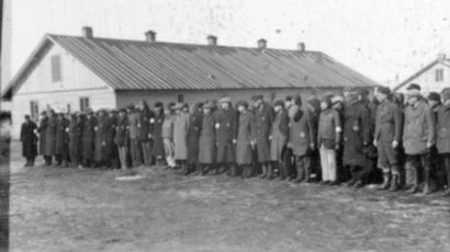 Prisoner roll call at KZ Salaspils, December 22, 1941. (Wikipedia/Nazi propaganda photo)