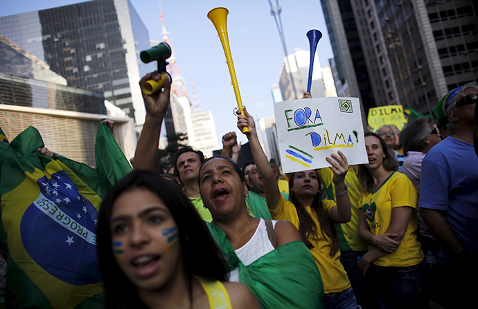 Demonstrators shout slogans during a protest against Brazils President Dilma Rousseff at Paulista avenue in Sao Paulo April 12, 2015 (Reuters / Nacho Doce)