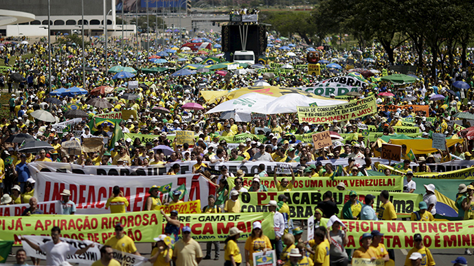 Countrywide protests flood Brazil pushing for President Rousseff's impeachment