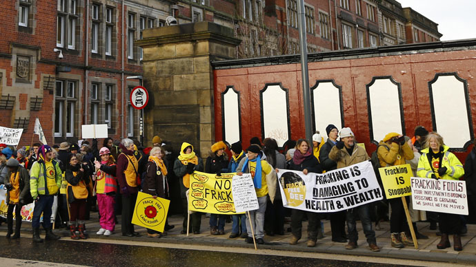 Demonstrators gather outside the County Hall during an anti-fracking protest in Preston, northern England January 28, 2015. (Reuters/Darren Staples)
