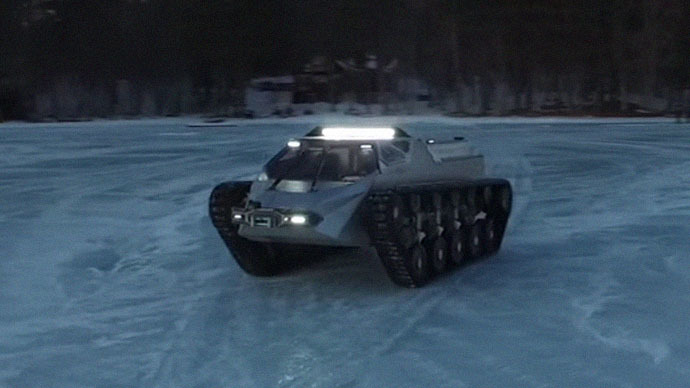 Batmobile? Moon buggy? Who knows, but the armored hell-car drifts on ice! (VIDEO)