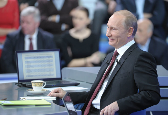 December 15, 2011. Prime Minister Vladimir Putin during the annual Q&A session. (RIA Novosti/Aleksey Nikolskyi)