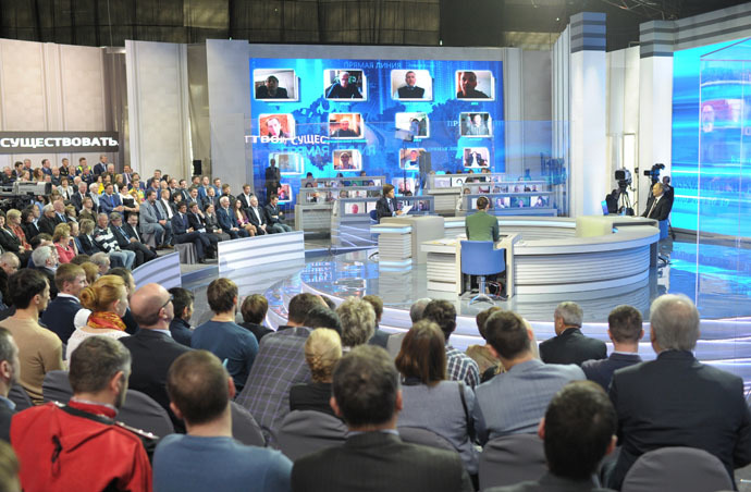 April 17, 2014. President Vladimir Putin replies to questions from Russian citizens during annual Q&A session. (RIA Novosti/Alexei Druzhinin)