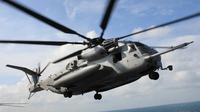 Marine chopper lands at San Diego beach