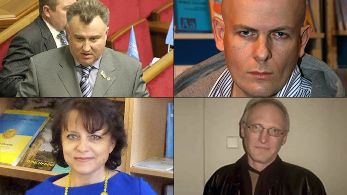 Oleg Kalashnikov (image by http://glavpost.com), Oles Buzina (Image from wikipedia.org), Olga Moroz (Image from Facebook), Sergey Sukhobok (Screenshot from Youtube)