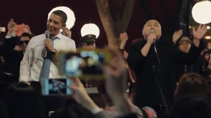 Obama and Kim Jong-un strike a chord for peace in viral commercial