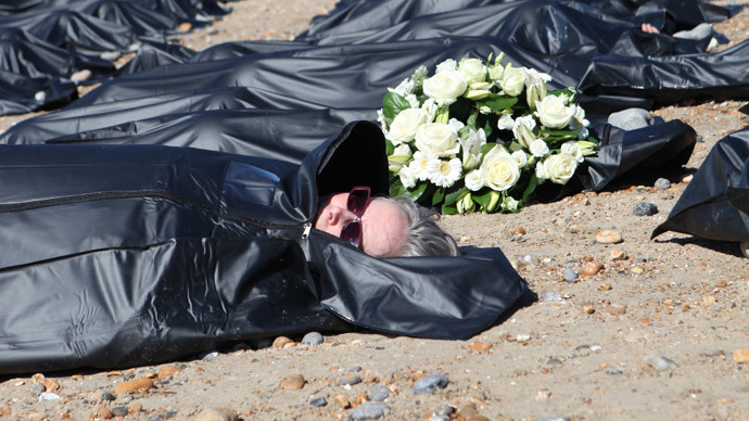 200 body bags on Brighton beach highlight scale of Mediterranean migrant crisis