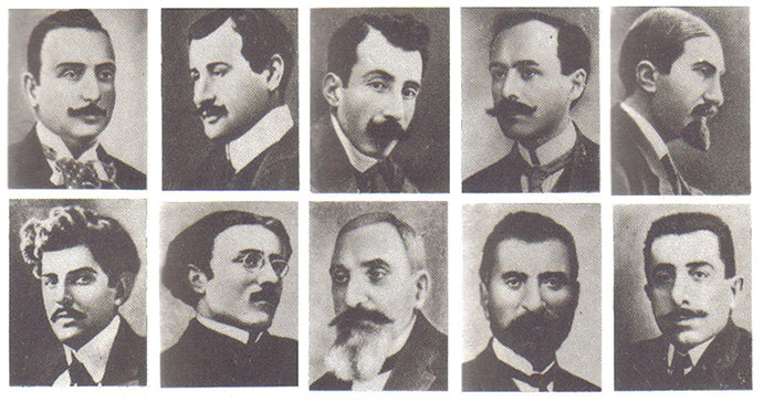 Armenian intellectuals who were arrested and later executed en masse by Young Turk government authorities on the night of 24 April 1915. (Image from Wikipedia)
