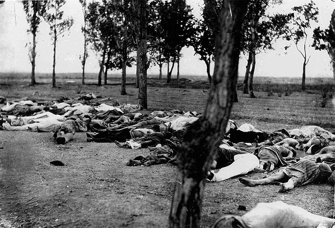 "Of this photo, the United States ambassador wrote, ""Scenes like this were common all over the Armenian provinces, in the spring and summer months of 1915. Death in its several forms—massacre, starvation, exhaustion—destroyed the larger part of the refugees. The Turkish policy was that of extermination under the guise of deportation"" (Image from Wikipedia)"