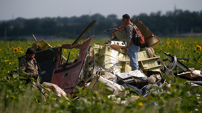 A Malaysian air crash investigator (R) inspects the crash site of Malaysia Airlines Flight MH17, near the village of Rozsypne, Donetsk region, July 22, 2014 (Reuters / Maxim Zmeyev)