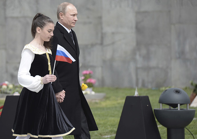 Russia's President Vladimir Putin (R) attends a commemoration ceremony marking the centenary of the mass killing of Armenians by Ottoman Turks in Yerevan, Armenia, April 24, 2015. (Reuters/Alexei Nikolsky/RIA Novosti/Kremlin)