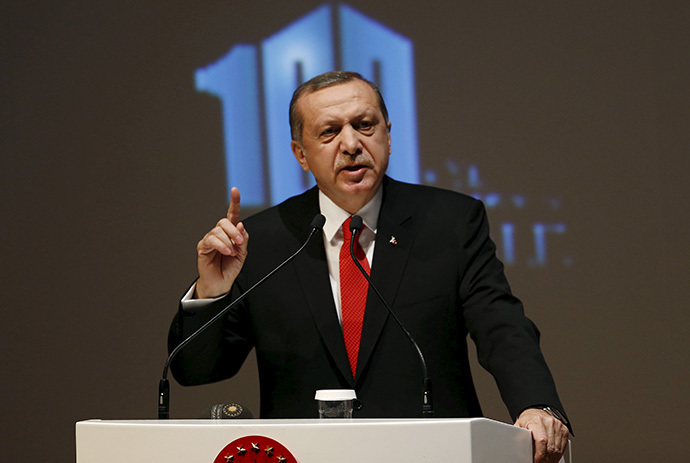 Turkey's President Tayyip Erdogan makes a speech during a Peace Summit ahead of the 100th anniversary of the Battle of Gallipoli, in Istanbul April 23, 2015. (Reuters/Murad Sezer)