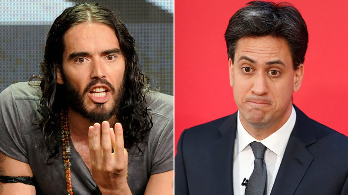 Party branding? Miliband spotted on late night visit to Russell Brand's house