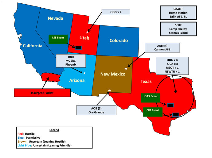 Map showing 7 states where US military forces will participate in domestic training (Image from the US Army Special Operations Command)