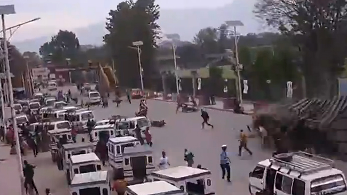 New video of Nepal earthquake shows building collapsing on motorists