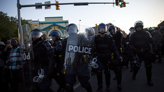 Tensions at site of Baltimore protests after reports of gun fired in Baltimore