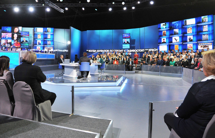 April 16, 2015. Russian President Vladimir Putin, center left, answers questions from the public during the annual Direct Line with Vladimir Putin special broadcast live on Russian television and radio. (RIA Novosti/Michael Klimentyev)