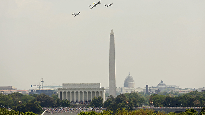 Historic planes on parade over National Mall in WWII commemoration