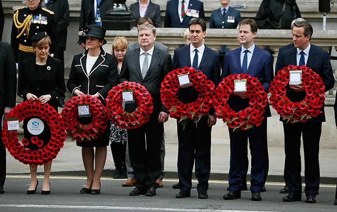 Scottish First Minister Nicola Sturgeon (L-R) stands with, Northern Ireland Executive Enterprise Minister Arlene Foster, SNP MP Angus Robertson, former Labour Party leader Ed Miliband, former Liberal Democrat leader Nick Clegg, and Prime Minister David Cameron, as they line up to pay tribute at the Cenotaph during a Victory in Europe (VE) day ceremony in central London May 8, 2015 (Reuters / Stefan Wermuth)