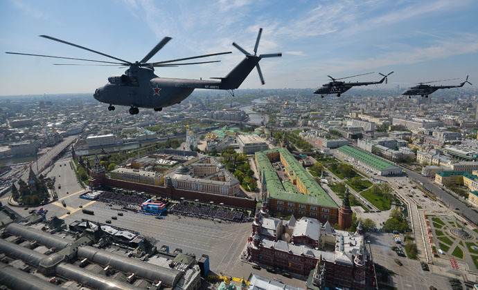 A Mil Mi-26 Halo helicopter at the military parade to mark the 70th anniversary of Victory in the 1941-1945 Great Patriotic War. (RIA Novosti/Vladimir Astapkovich)