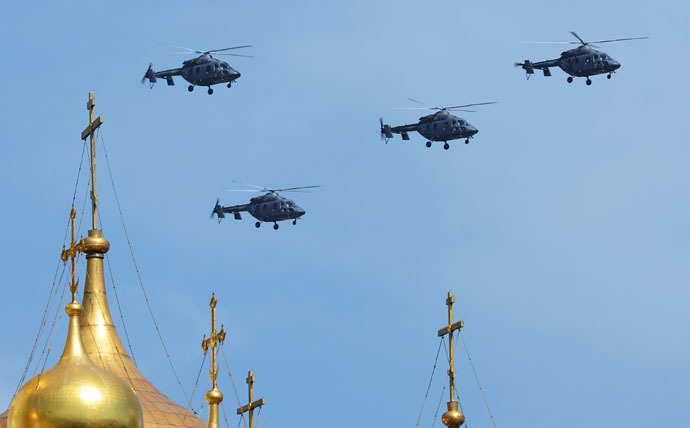 Kazan Ansat-U helicopters during the military parade to mark the 70th anniversary of Victory in the 1941-1945 Great Patriotic War. (RIA Novost/Vladimir Sergeev)