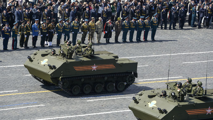 A BTR-MDM Rakushka (Shell) airborne armored personnel carrier at the military parade to mark the 70th anniversary of Victory in the 1941-1945 Great Patriotic War. (RIA Novosti/Alexander Vilf)