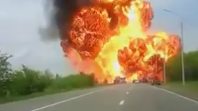 Staggering footage of truck explosion in Russia's south (VIDEO)