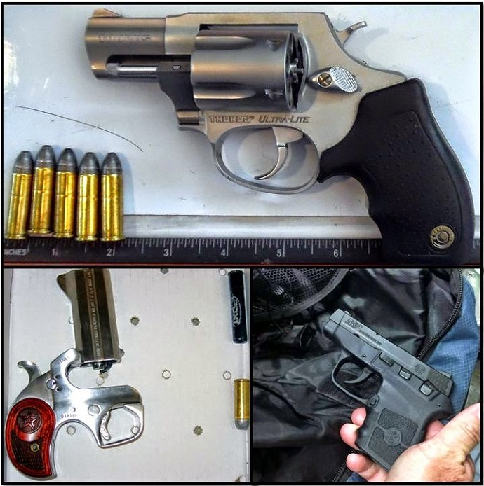 Clockwise from top, these firearms were discovered in carry-on bags at the Buffalo, New York; Dallas-Fort Worth, Texas; and Indianapolis, Indiana airports (Transportation Security Administration)