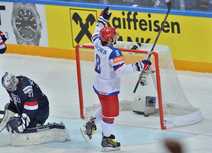 Alex Ovechkin gives Russia a 2-0 lead in the semifinals against Team USA (RIA Novosti / Alexey Kudenko)