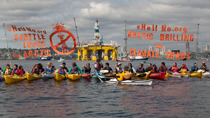 'Shell no!' Seattle kayaktivist fleet protests Arctic drilling (PHOTOS, VIDEO)