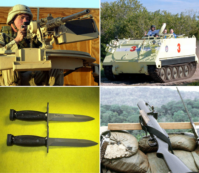 Banned: (from top left) .50 cal MG, M113 APC, bayonets, grenade launchers (Reuters/usmilitaryknives.com/wikipedia.org)