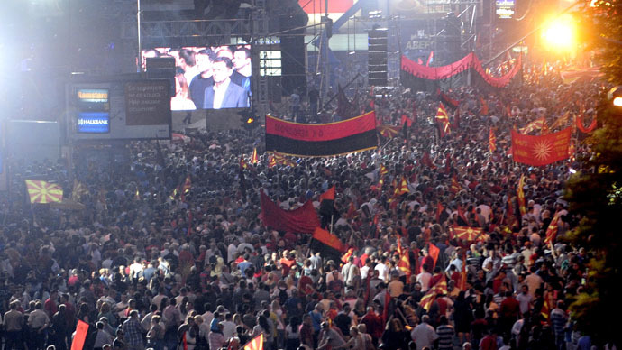 'No bowing down': Thousands of pro-govt protesters rally for Macedonian PM