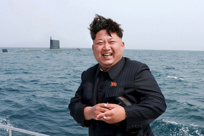 North Korean leader Kim Jong Un watches the test-fire of a strategic submarine underwater ballistic missile (not pictured) in Pyongyang on May 9, 2015. (Reuters / KCNA)