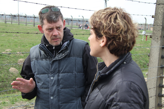 Paula Slier meets with the grandson of Auschwitz commandant Rudolf Hess.RT Photo