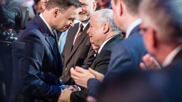 Andrzej Duda and Jaroslaw Kaczynski (AFP Photo/Wojtek Radwanski)